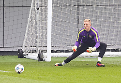 Manchester City's Joe Hart is pictured during the training session at the Etihad Campus ahead of the UEFA Champions League second leg match against FC Barcelona - Photo mandatory by-line: Matt McNulty/JMP - Mobile: 07966 386802 - 17/03/2015 - SPORT - Football - Manchester - Etihad Campus - Barcelona v Manchester City - UEFA Champions League