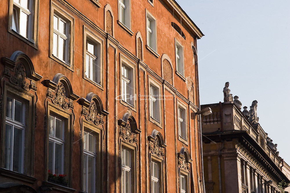 Building facade in the Old Town of Krakow Poland