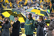 Brett Farve, watches as his number is unveiled at halftime. The Green Bay Packers held a ceremony at halftime to retire the number of former quarterback Brett Favre. Packer great Bart Starr was also in attendance.   STEVE APPS -- State Journal.