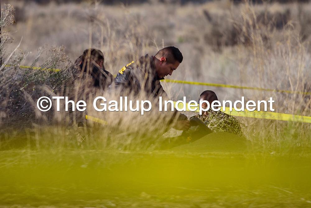 Gallup Police detective Steven Peshlakai investigates the scene where a body was found near U.S. Highway 491 in Gallup Monday.