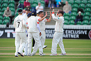 Lancashire's Simon Kerrigan celebrates the wicket of Somerset's Tom Abell during the Specsavers County Champ Div 1 match between Somerset County Cricket Club and Lancashire County Cricket Club at the County Ground, Taunton, United Kingdom on 3 May 2016. Photo by Graham Hunt.