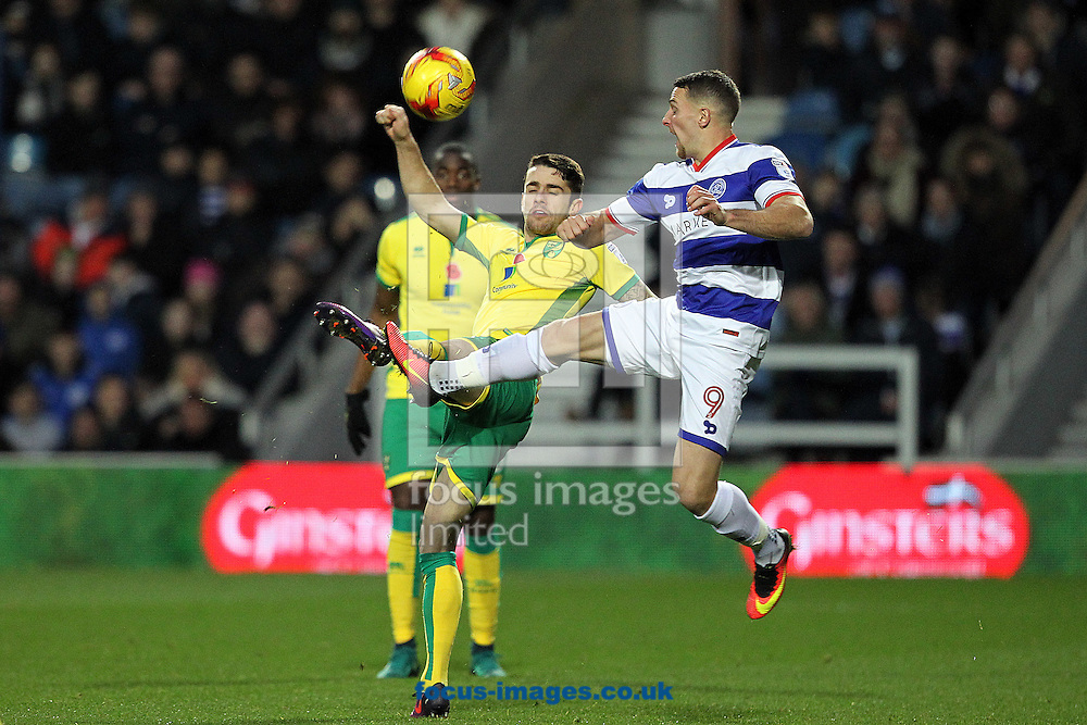 Robbie Brady of Norwich and Conor Washington of Queens Park Rangers in action during the Sky Bet Championship match at the Loftus Road Stadium, London<br /> Picture by Paul Chesterton/Focus Images Ltd +44 7904 640267<br /> 19/11/2016