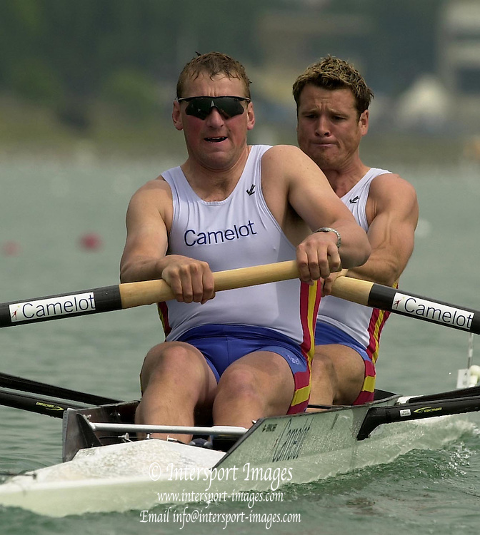 © Peter Spurrier / Intersport-Images  .+44 (0) 7973 819 551 email images@intersport-images.com.2003 - FISA World Cup Rowing Milan Italy.29/05/2003  - Photo Peter Spurrier.Matt Pinsent [left] and James Cracknell, start there 2003 World Cup campaign on the Idroscale Rowing Course, Milan. Italy. Moving off the start in the  2nd heat of the men?s pair. ... [Mandatory Credit: Peter Spurrier:Intersport Images]