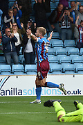 Paddy Madden  celebrates second goal during the Sky Bet League 1 match between Scunthorpe United and Crewe Alexandra at Glanford Park, Scunthorpe, England on 15 August 2015. Photo by Ian Lyall.