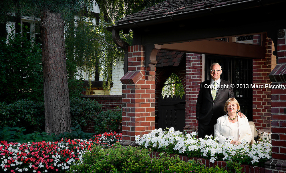 "SHOT 8/19/13 5:49:26 PM - Northwestern University donors Lanny and Sharon Martin of Denver, Co. in their Cherry Creek home one evening. Alumnus J. Landis ""Lanny"" Martin (JD '73, BS '68) and his wife, Sharon, made a $10 million unrestricted gift to the Law School.  (Photo by Marc Piscotty / © 2013)"