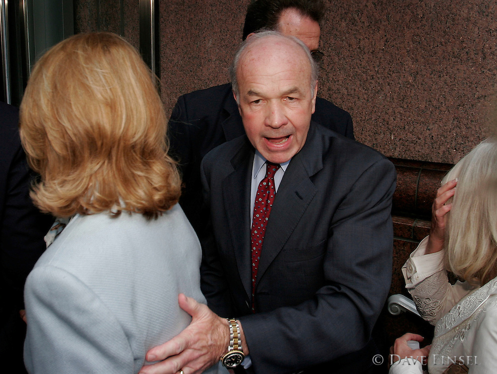 HOUSTON - APRIL 27:   Former Enron chairman Kenneth Lay helps his wife Linda into an office building after proceedings in his fraud and conspiracy trial, April 27, 2006, in Houston. Lay was on the stand for the fourth day. (Photo by Dave Einsel)