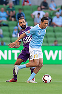 MELBOURNE, VIC - JANUARY 19: Melbourne City midfielder Kearyn Baccus (15) competes for the ball at the Hyundai A-League Round 14 soccer match between Melbourne City FC and Perth Glory at AAMI Park in VIC, Australia 19th January 2019. Image by (Speed Media/Icon Sportswire)
