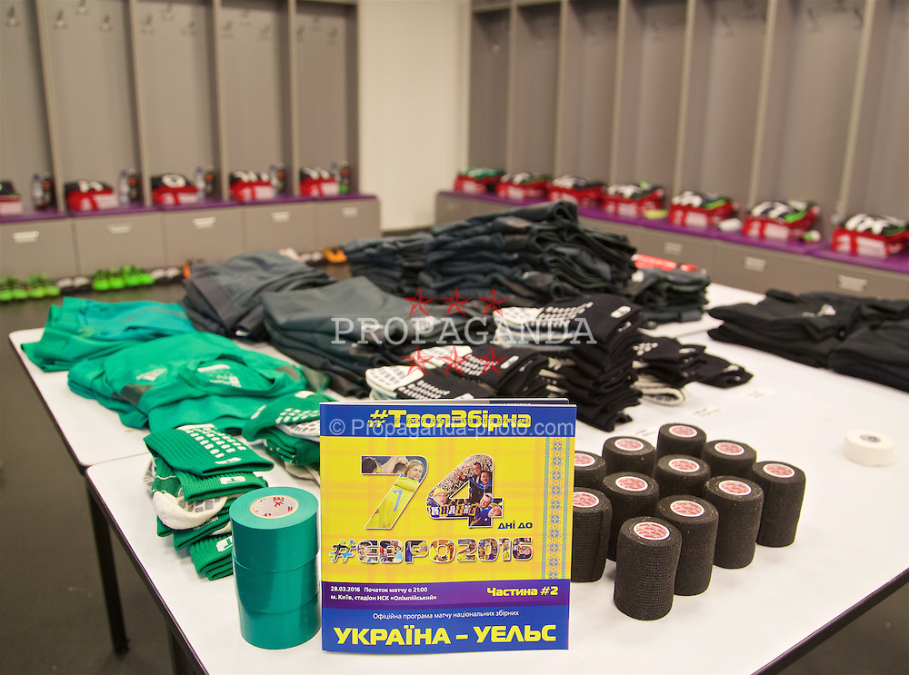 KIEV, UKRAINE - Easter Monday, March 28, 2016:  Wales players shirts and boots laid out in the dressing room before the International Friendly match against Ukraine at the NSK Olimpiyskyi Stadium. (Pic by David Rawcliffe/Propaganda)