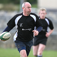 Albert Hardiman in possession during the Clare Gardai V Limerick Leprachauns rugby match in Ennis on Saturday.<br /><br />Photograph by Eamon Ward