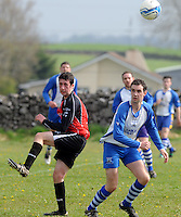Mark Creaven Kiltullagh  and Johnny O Dea  Kinvara FC in Kiltullagh, Galway. Photo:Andrew Downes