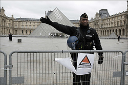 A man who attempted a knife attack on soldiers guarding the Louvre Museum in Paris was shot and injured on February 3, 2017. Photo by Frederic Lafargue/ABACAPRESS.COM