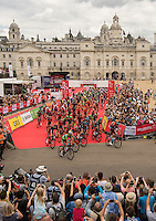 LONDON UK 31ST JULY 2016:  Start on Horse Guards Parade. The Prudential RideLondon-Surrey Classic  in London 31st July 2016<br /> <br /> Photo: Bob Martin/Silverhub for Prudential RideLondon<br /> <br /> Prudential RideLondon is the world's greatest festival of cycling, involving 95,000+ cyclists – from Olympic champions to a free family fun ride - riding in events over closed roads in London and Surrey over the weekend of 29th to 31st July 2016. <br /> <br /> See www.PrudentialRideLondon.co.uk for more.<br /> <br /> For further information: media@londonmarathonevents.co.uk