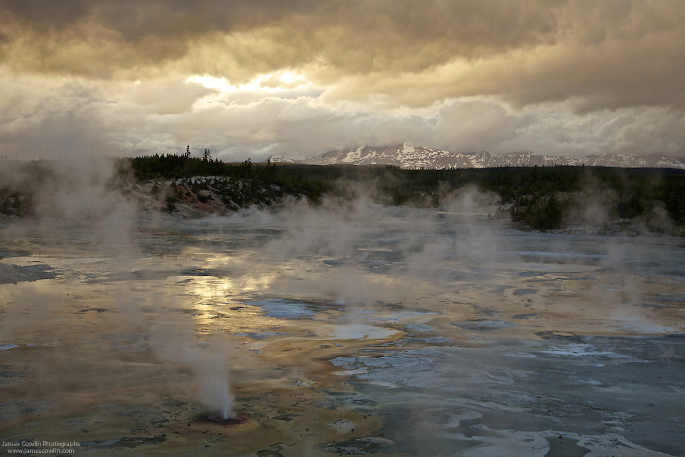 Norris Geyser Basin at sunset in Yellowstone National Park