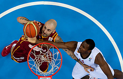 Pero Antic of Macedonia vs Serge Ibaka of Spain during basketball game between National basketball teams of Spain and F.Y.R. of Macedonia in Semifinals  of FIBA Europe Eurobasket Lithuania 2011, on September 16, 2011, in Arena Zalgirio, Kaunas, Lithuania. Spain defeated Macedonia 92-80.  (Photo by Vid Ponikvar / Sportida)
