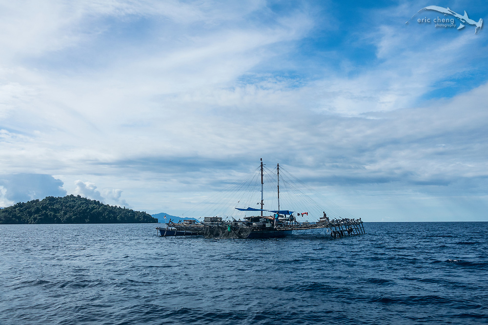 A bagan, an Indonesia fishing platform, at Kwatisore village, Cenderawasih Bay, Western Papua, Indonesia.