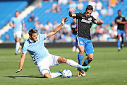 SS Lazio's Wesley Hoedt and Brighton & Hove Albion's Sam Baldock during the Pre-Season Friendly match between Brighton and Hove Albion and SS Lazio at the American Express Community Stadium, Brighton and Hove, England on 31 July 2016.