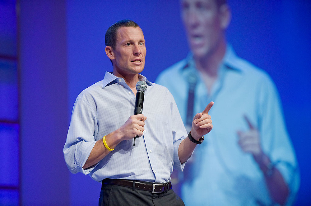 Lance Armstrong speaks at the Pharmaceutical Research and Manufacturers of America Annual Meeting, San Antonio, Texas, April 4, 2009.