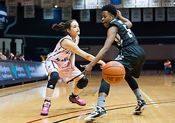 February 22 2016: Robert Morris Colonials guard Lou Mataly (12) makes a pass under the arm of Long Island Blackbirds guard Shanovia Dove (5) during the first half in the NCAA Women's Basketball game between the Long Island Blackbirds and the Robert Morris Colonials at the Charles L. Sewall Center in Moon Township, Pennsylvania (Photo by Justin Berl)