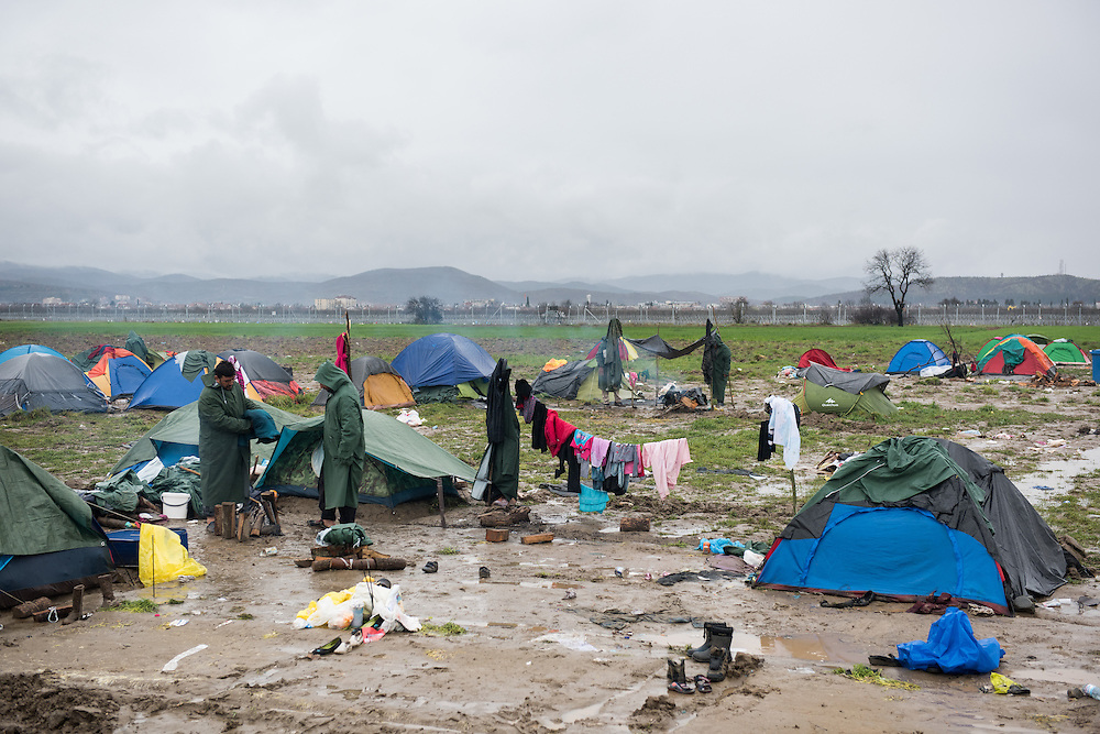 View of the transit camp of Idomeni, Greece. <br /> <br /> Thousands of refugees are stranded in Idomeni unable to cross the border. The facilities are stretched to the limit and the conditions are appalling.