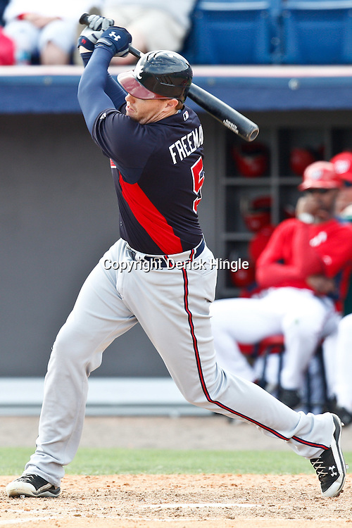March 4, 2011; Viera, FL, USA; Atlanta Braves first baseman Freddie Freeman (5) during a spring training exhibition game against the Washington Nationals at Space Coast Stadium.  Mandatory Credit: Derick E. Hingle