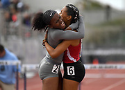 May 19, 2018; Torrance, CA, USA; Nyree Brown of Segerstrom (right) and Mya Greene of Carter celebrate after placing first and second in the Division I girls 300m hurdles in 41.86 and 42.32 during the CIF Southern Section Finals  at El Camino College.