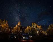 BOLO Photo<br /> Wild West Automotive Photography<br /> Mean Machines Under a Hazy Milky Way <br /> 30 Sep 18<br /> Telluride, Colorado <br /> (1987 Buick Turbo T: Wayne Emmons) <br /> (1979 Pontiac Trans Am: Heather Wendelboe)