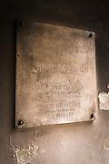 Commemorative plaque at the historic Stone Gate in old town Gradec, Zagreb, Croatia