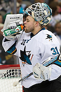 DALLAS, TX - OCTOBER 17:  Antti Niemi #31 of the San Jose Sharks drinks from a Gatorade bottle against the Dallas Stars on October 17, 2013 at the American Airlines Center in Dallas, Texas.  (Photo by Cooper Neill/Getty Images) *** Local Caption *** Antti Niemi