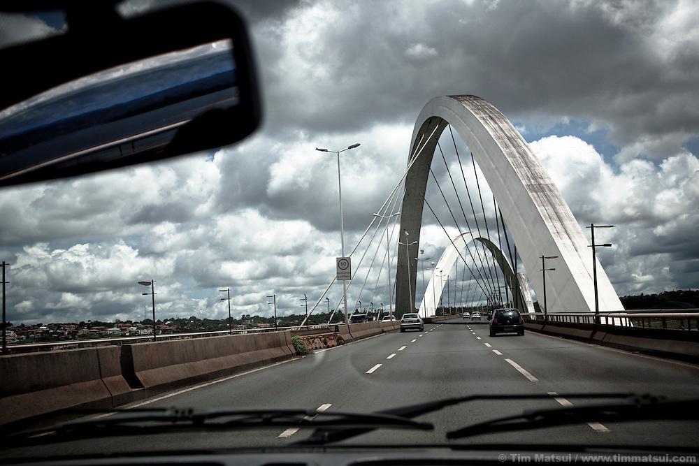 Driving across the Juscelino Kubitschek bridge, also known as the 'President JK Bridge' or the 'JK Bridge', crosses Lake Paranoá in Brasília.