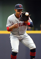 May 8, 2018 - Milwaukee, WI, U.S. - MILWAUKEE, WI - MAY 08: Cleveland Indians Shortstop Francisco Lindor (12) catches the ball during a MLB game between the Milwaukee Brewers and Cleveland Indians on May 8, 2018 at Miller Park in Milwaukee, WI. The Brewers defeated the Indians 3-2.(Photo by Nick Wosika/Icon Sportswire) (Credit Image: © Nick Wosika/Icon SMI via ZUMA Press)