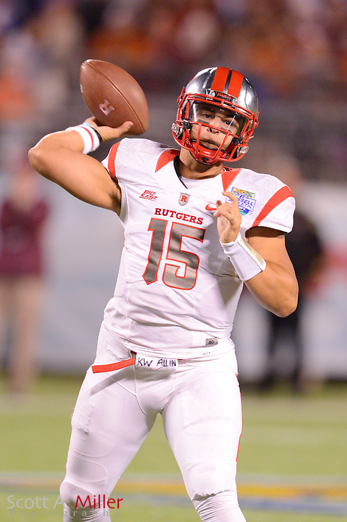 Rutgers Scarlet Knights quarterback Gary Nova (15) looks to pass against the Virginia Tech Hokies in the Russell Athletic Bowl on Dec 28, 2012 in Orlando, Florida. Virginia Tech won 13-10 in overtime....©2012 Scott A. Miller..