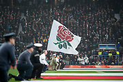"Twickenham, Surrey. UK. ""Yhe  Red Rose Flag"" waved before the  England VS Australia, Autumn International. Old Mutual Wealth Series. RFU Stadium, Twickenham. UK<br /> <br /> Saturday  18.11.17<br /> <br /> [Mandatory Credit Peter SPURRIER/Intersport Images]"