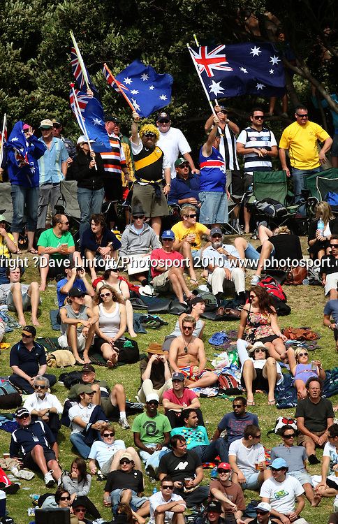 Australian fans wave flags on the embankment.<br /> 1st cricket test match - New Zealand Black Caps v Australia, day two at the Basin Reserve, Wellington.Saturday, 20 March 2010. Photo: Dave Lintott/PHOTOSPORT