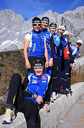 Slovenian team of nordic skiing: Petra Majdic, Barbara Jezersek, Katja Visnar, Vesna Fabjan, Nejc Brodar, Vladimir Korolkevic and Ivan Hudac at practice of Slovenian Cross country National team before new season 2008/2009, on October 22, 2008, glacier Dachstein, Ramsau, Austria. (Photo by Vid Ponikvar / Sportida).