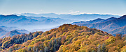 At Webb Overlook (4775 feet elevation) on Newfound Gap Road in Great Smoky Mountains National Park (on the North Carolina side), gaze at fall leaf colors in the Blue Ridge Mountains, which are part of the Appalachian Mountains. Panorama stitched from 2 overlapping photos.