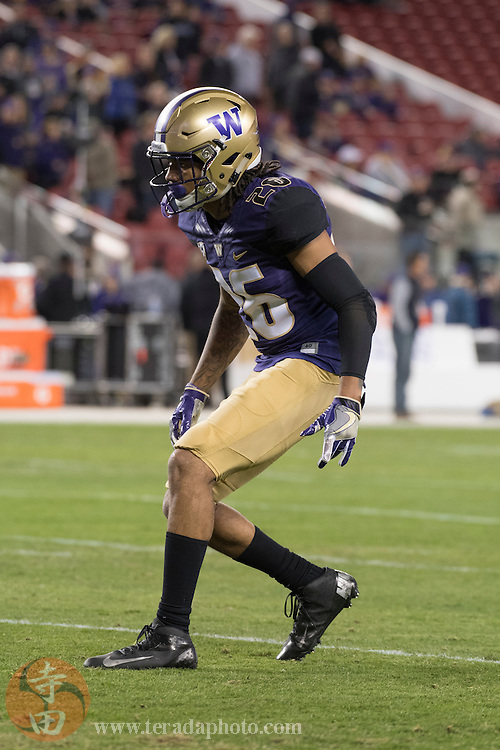 December 2, 2016; Santa Clara, CA, USA; Washington Huskies defensive back Sidney Jones (26) before the Pac-12 championship against the Colorado Buffaloes at Levi's Stadium. The Huskies defeated the Buffaloes 41-10.