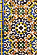 MARRAKESH, MOROCCO - 19TH APRIL 2016 - Close up of intricate and detailed mosaic pattern tiling with geomtric shapes lining the Zaouia / zawiya burial tomb shrine site of Sidi Bel Abbas (Abu al-Abbas) al-Sabti, Marrakesh, Morocco.