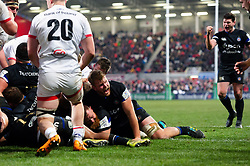 Ross Batty of Bath Rugby scores a try in the second half - Mandatory byline: Patrick Khachfe/JMP - 07966 386802 - 18/01/2020 - RUGBY UNION - Kingspan Stadium - Belfast, Northern Ireland - Ulster Rugby v Bath Rugby - Heineken Champions Cup