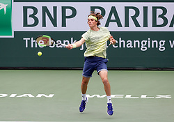 March 10, 2018 - Indian Wells, CA, U.S. - INDIAN WELLS, CA - MARCH 10: Stefanos Tsitsipas ( GRE ) hits a forehand during the second round of the BNP Paribas Open on March 10, 2018, at the Indian Wells Tennis Gardens in Indian Wells, CA. (Photo by Adam  Davis/Icon Sportswire) (Credit Image: © Adam Davis/Icon SMI via ZUMA Press)