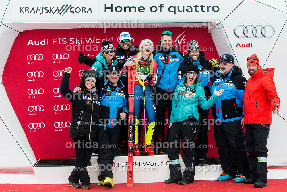 "Winner Mikaela Shiffrin (USA) and her US Team posing for a group photo during trophy ceremony after the 2nd Run of the FIS Alpine Ski World Cup 2017/18 7th Ladies' Slalom race named ""Golden Fox 2018"", on January 7, 2018 in Podkoren, Kranjska Gora, Slovenia. Photo by Ziga Zupan / Sportida"