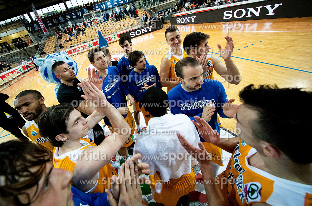 Players of Sixt Primorska celebrate after winning during basketball match between KK Sixt Primorska and KK Petrol Olimpija in semifinal of Spar Cup 2018/19, on February 16, 2019 in Arena Bonifika, Koper / Capodistria, Slovenia. Photo by Vid Ponikvar / Sportida