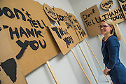 The Whitechapel Gallery is showing a  display of 'playful' protest banners by British artist Peter Liversidge, who worked with groups of primary school children from east London.  Liversidge worked with the children to write lyrics for protest songs, create choreography and design banners and placards to enable them to express their views on community and the power of a collective voice. The banners cover everything from 'no more homework', to 'Give money to the poor' and a reminder to 'smile!'. Both shows run 17 March – 14 June 2015.