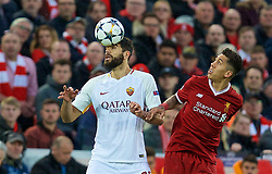 LIVERPOOL, ENGLAND - Tuesday, April 24, 2018: Liverpool's Roberto Firmino (right) and AS Roma's Federico Fazio during the UEFA Champions League Semi-Final 1st Leg match between Liverpool FC and AS Roma at Anfield. (Pic by David Rawcliffe/Propaganda)