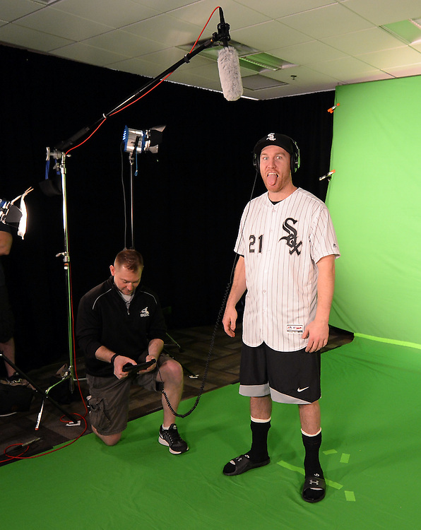 GLENDALE, ARIZONA - FEBRUARY 19:  Todd Frazier of the Chicago White Sox sticks his tongue out while filming video for scoreboard department during spring training workouts on February 19, 2017 at Camelback Ranch in Glendale Arizona.  (Photo by Ron Vesely). Subject:  Todd Frazier