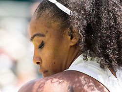 LONDON, ENGLAND - Thursday, July 7, 2016:  Serena Williams (USA) and the shadow of her hair on her shoulder with the tattoo showing during the Ladies' Singles - Semi-finals match on day eleven of the Wimbledon Lawn Tennis Championships at the All England Lawn Tennis and Croquet Club. (Pic by Kirsten Holst/Propaganda)