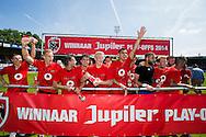 WAALWIJK, RKC Waalwijk - Excelsior Rotterdam, voetbal play-off promotie / degradatie, seizoen 2013-2014, 18-05-2014, Mandemakers Stadion, Excelsior promoveert naar de Eredivisie, spelers vieren feest.