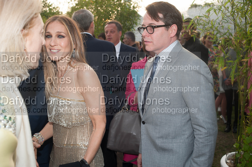 Matthew Broderick; Sarah Jessica Parker, The Serpentine Summer Party 2013 hosted by Julia Peyton-Jones and L'Wren Scott.  Pavion designed by Japanese architect Sou Fujimoto. Serpentine Gallery. 26 June 2013. ,