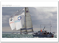 1851Cup. Cowes, England. This is the finish of the first race, TEAMORIGIN beating BMW Oracle racing by a narrow margin.  TEAMORIGIN went on to win the series with a 10-4 scoreline. Class: AC V5.