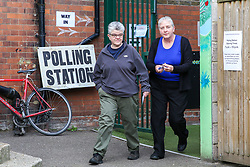 © Licensed to London News Pictures. 23/05/2019. London, UK. Voters leave the polling station in Haringey, north London after casting their votes in the European Parliament elections. Photo credit: Dinendra Haria/LNP