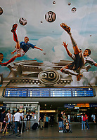 Photo: Glyn Thomas.<br />Germany v Italy. Semi Final, FIFA World Cup 2006. 04/07/2006.<br /> Germany's Michael Ballack (R) and France's Zinedine Zidane (L) portrayed as footballing gods in a mural in Cologne's main railway station.